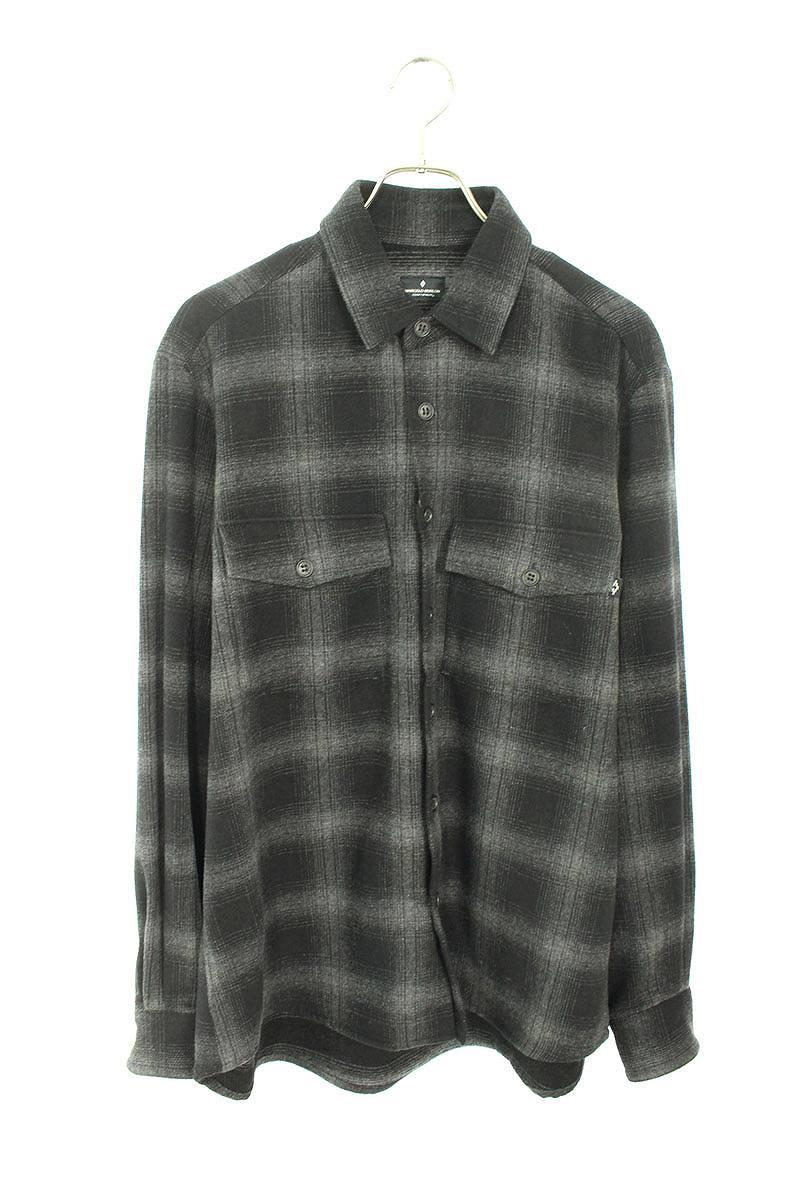 バックプリントチェック長袖シャツ