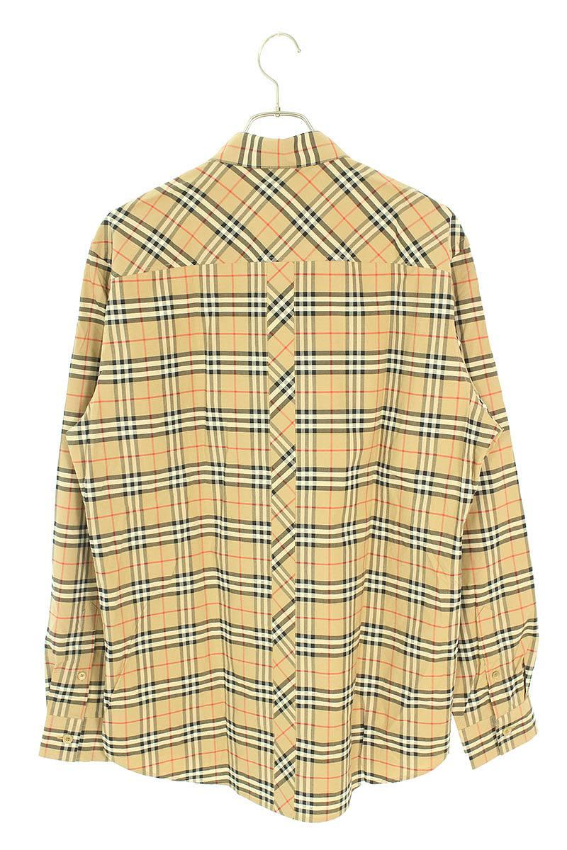 胸刺繍チェック切り替え長袖シャツ
