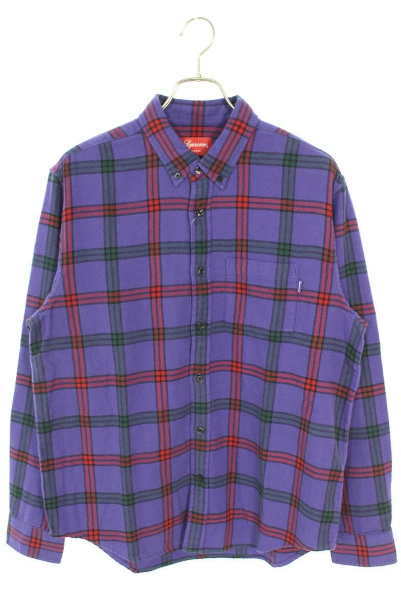 タータンチェック柄フランネル長袖シャツ