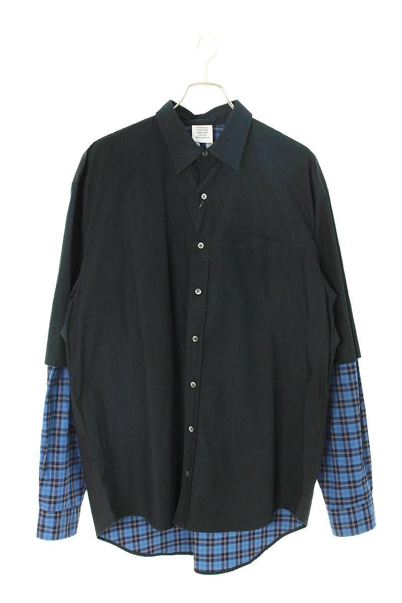 ヒュージョンレイヤードチェック長袖シャツ