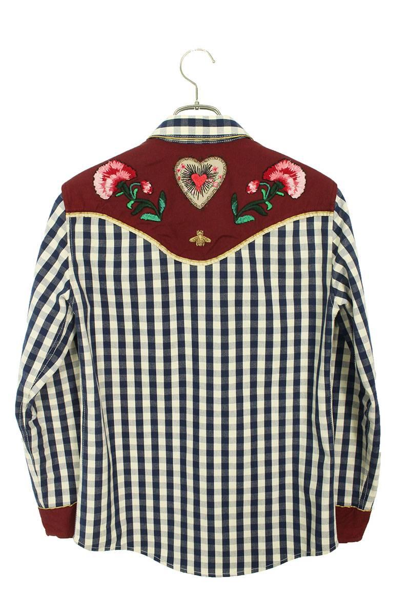 ヨーク刺繍切替ウエスタンチェック長袖シャツ