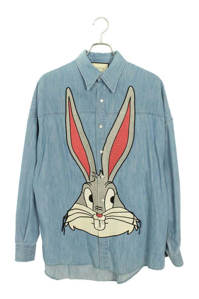 ラビット刺繍シャンブレー長袖シャツ
