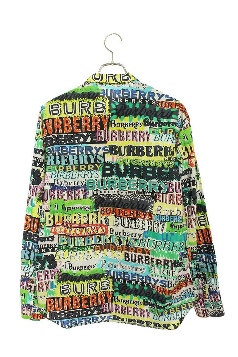落書きプリント総柄長袖シャツ
