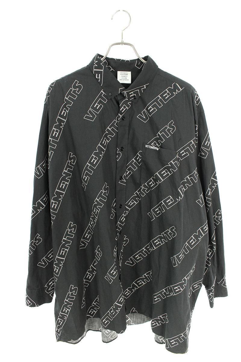 ロゴ総柄オーバーサイズ長袖シャツ