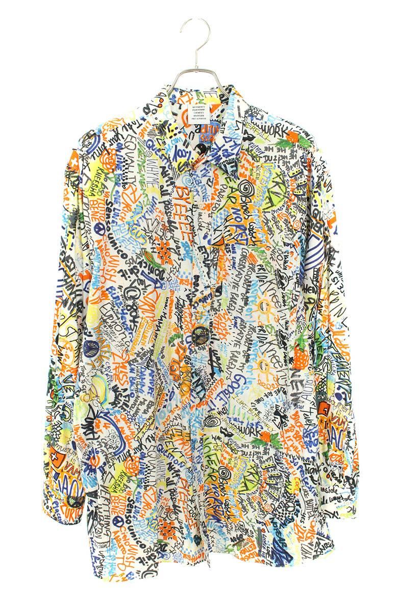 ペイント総柄オーバーサイズ長袖シャツ