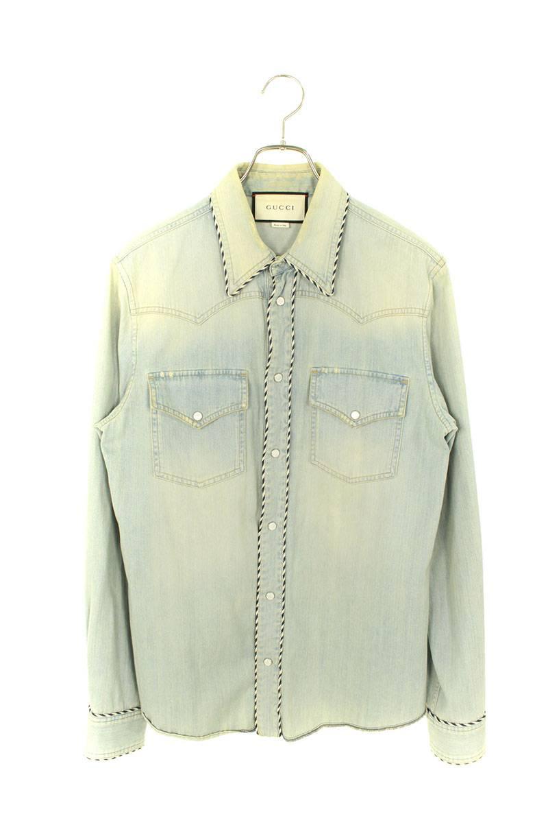 バックスネーク刺繍デニムウエスタン長袖シャツ