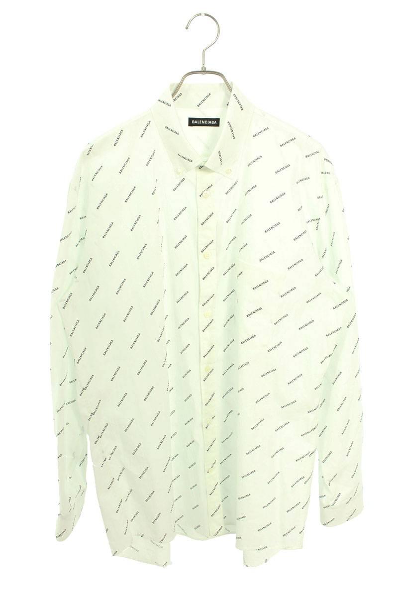 ロゴ総柄プリント長袖シャツ
