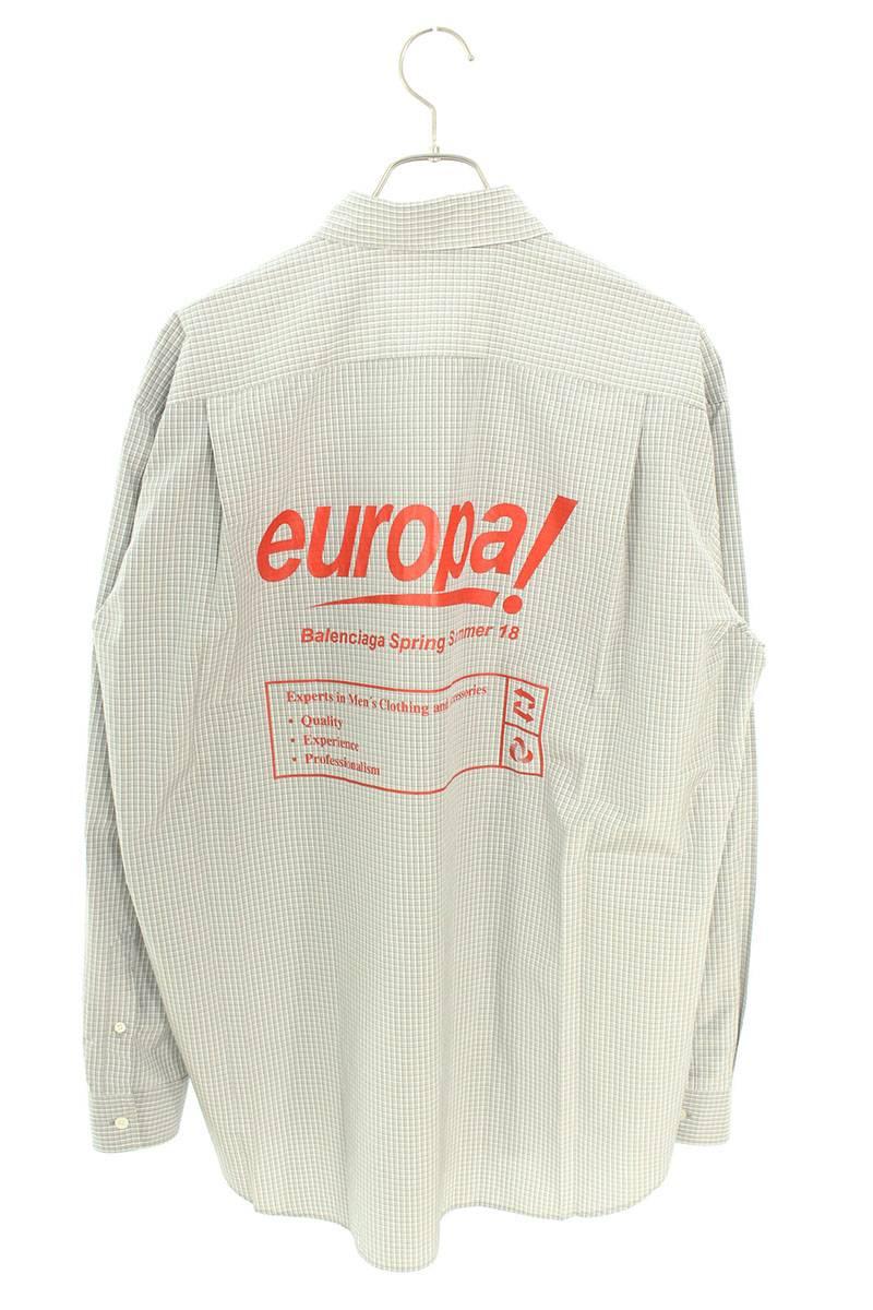europa!プリントオーバーサイズチェック長袖シャツ