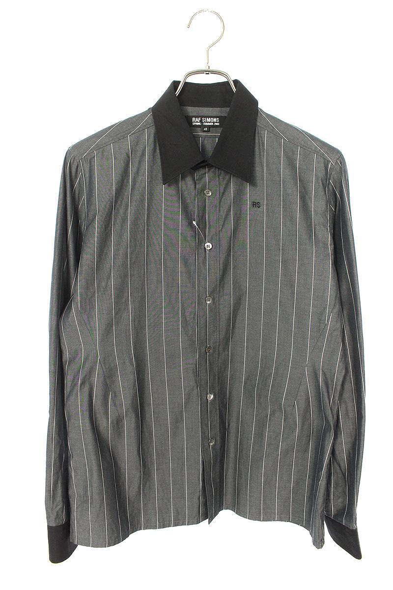 RS刺繍ストライプクレリック長袖シャツ