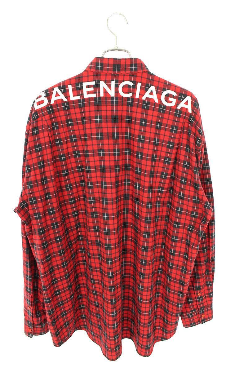 タータンチェックバックロゴプリント長袖シャツ