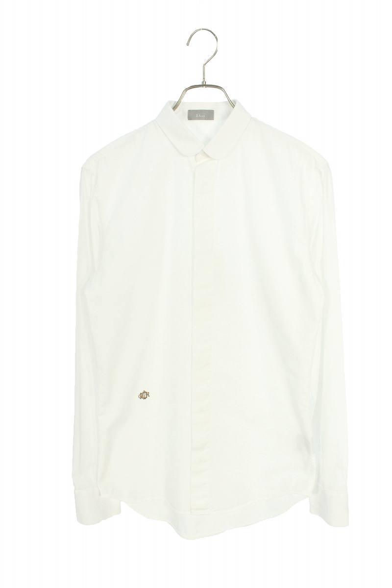 裾刺繍ラウンドカラー長袖シャツ