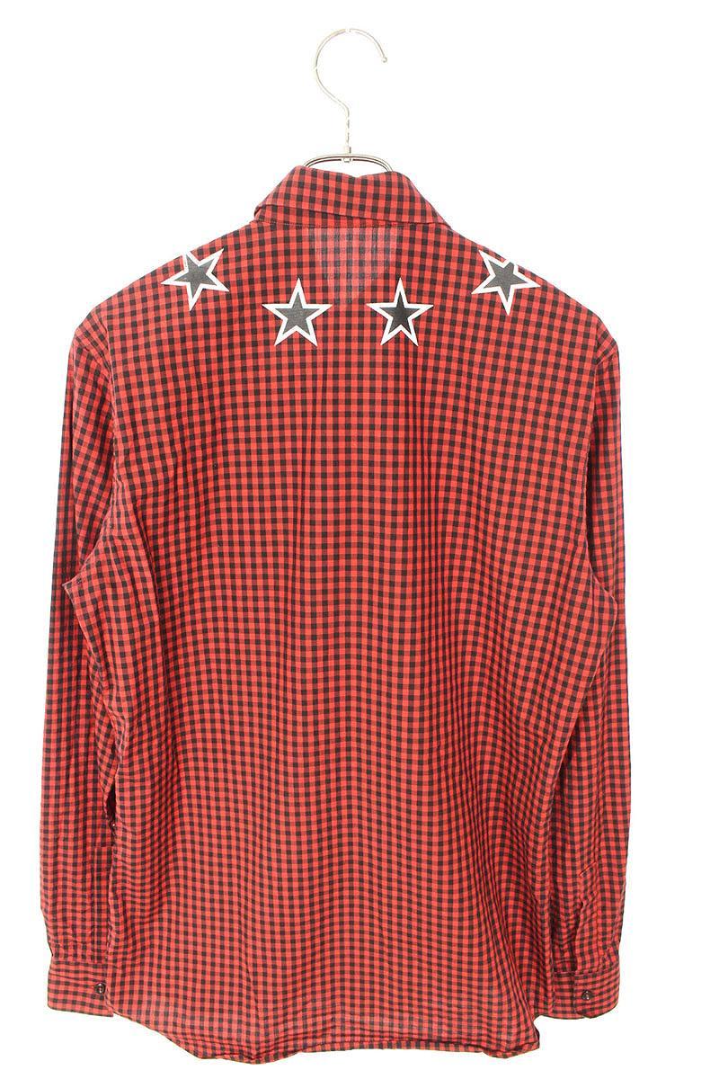 スタープリントチェック長袖シャツ