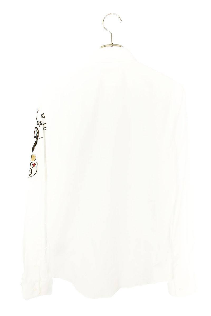 ビジューステッチ装飾プレーンドレス長袖シャツ