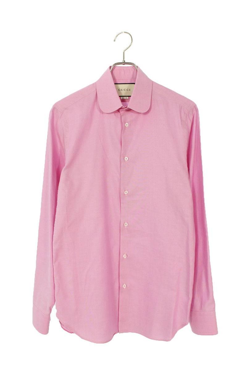 ラウンドカラープレーン長袖シャツ