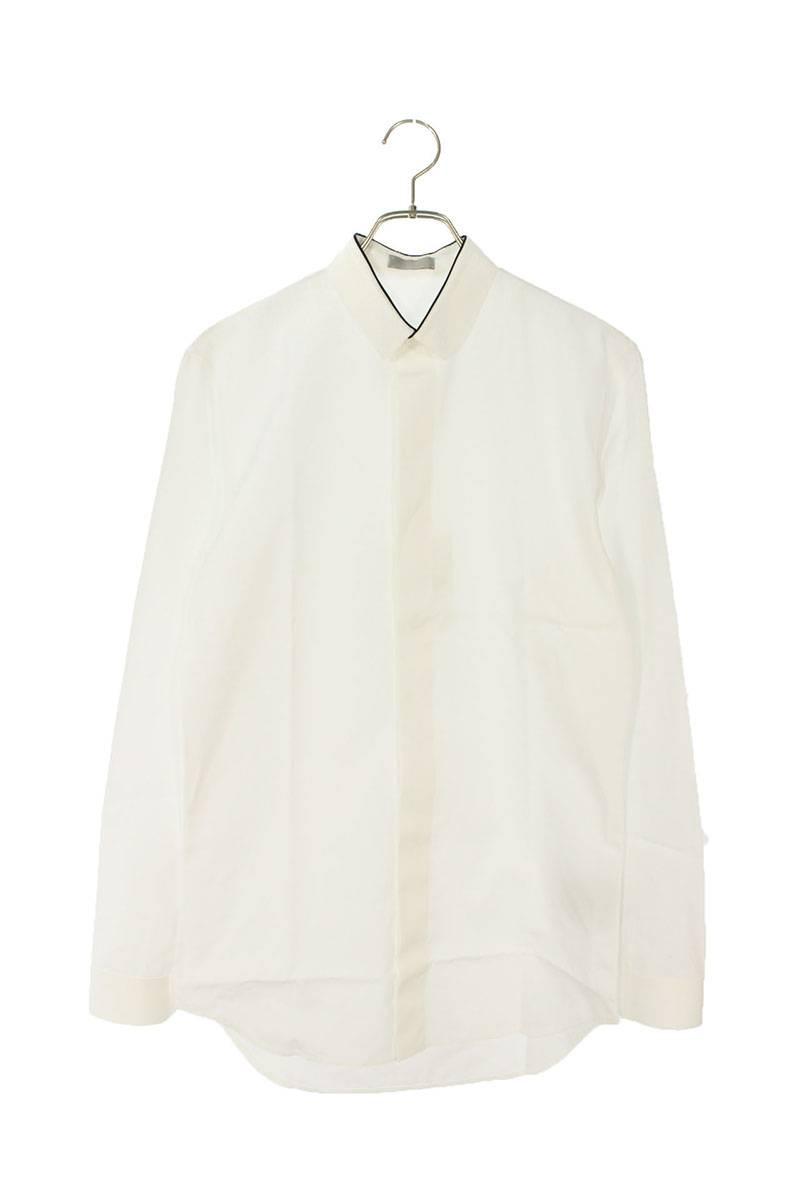 襟パイピング比翼長袖シャツ