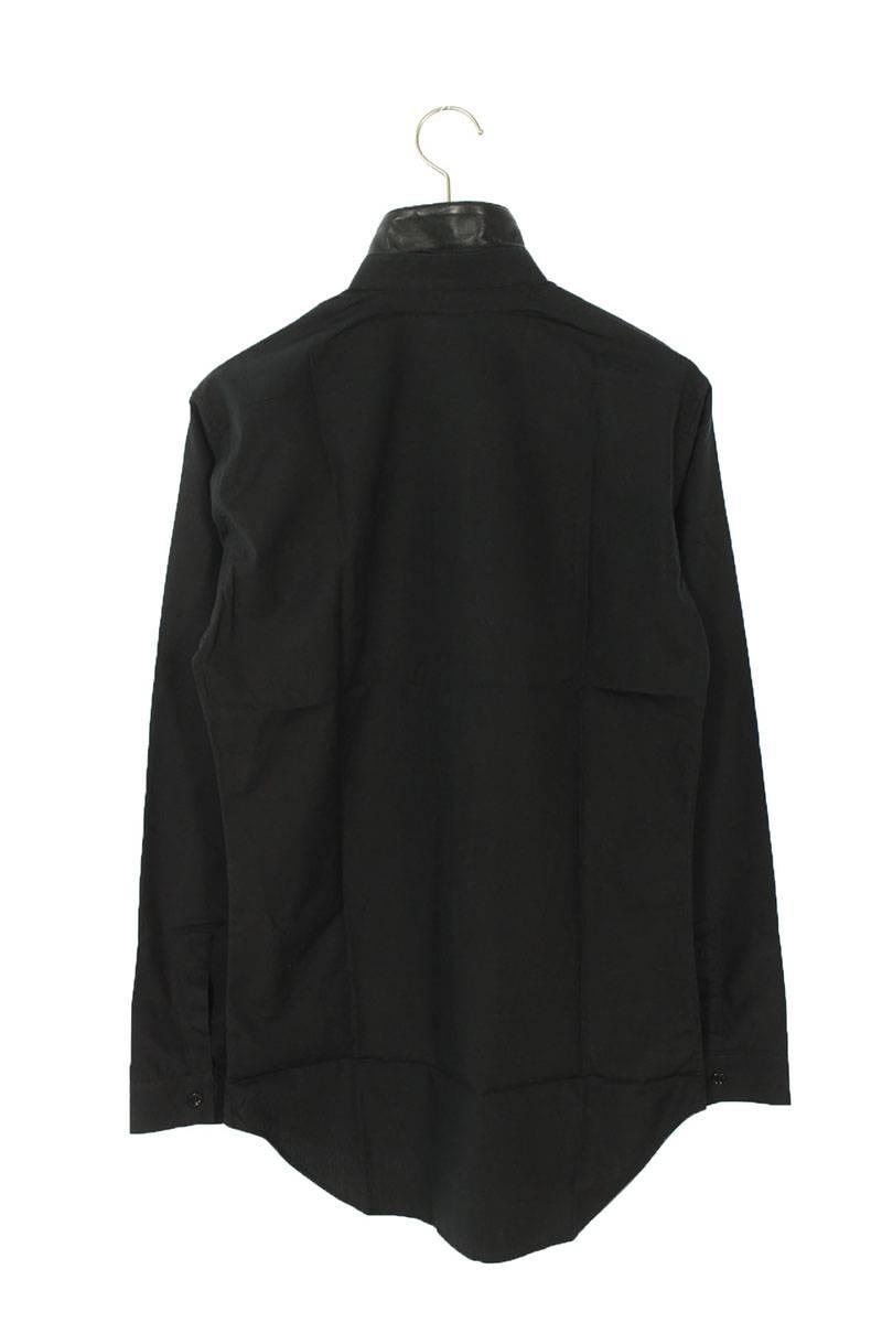 襟レザー切替長袖シャツ