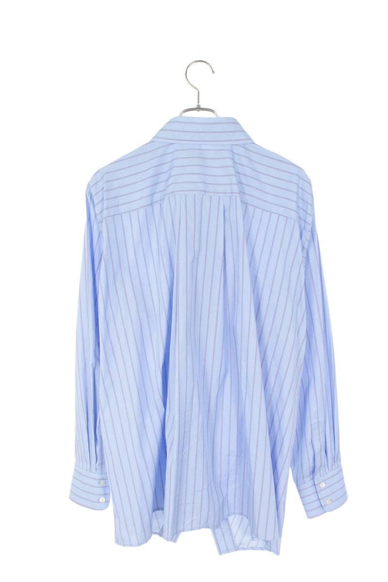 変形ストライプ長袖シャツ