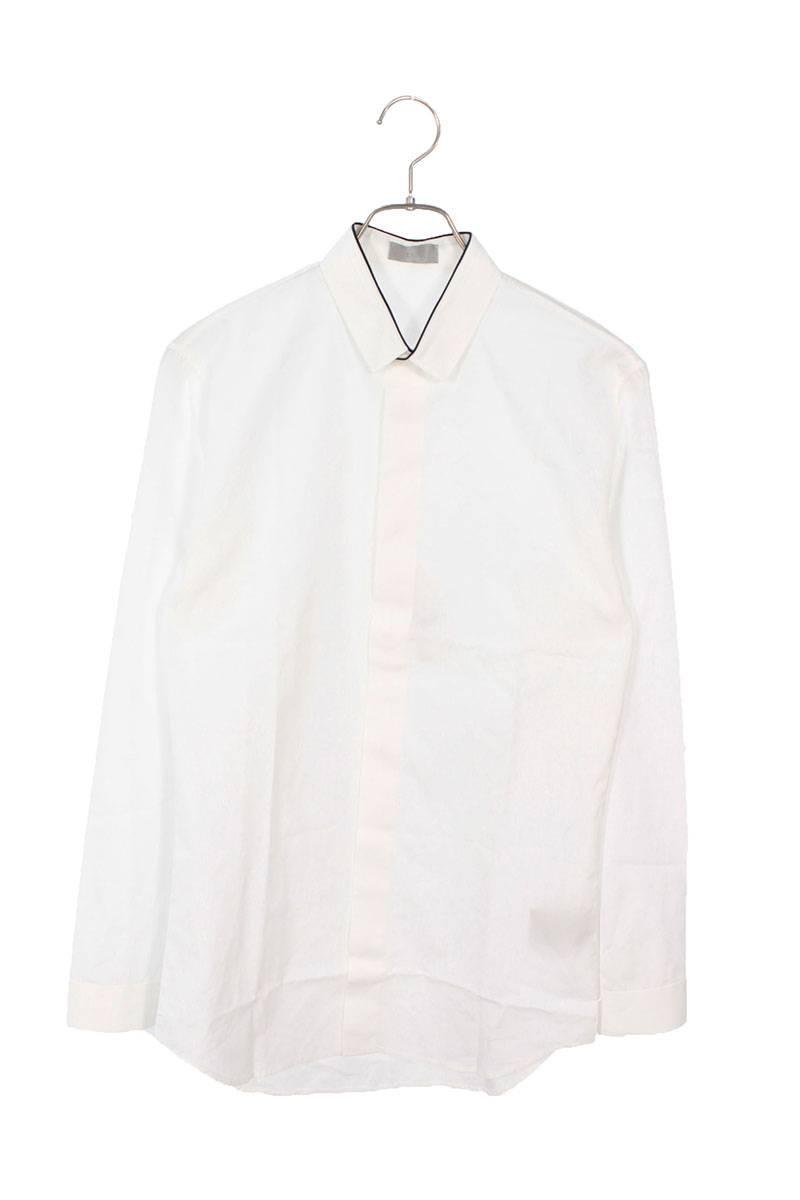 カラーパイピング比翼ボタン長袖シャツ