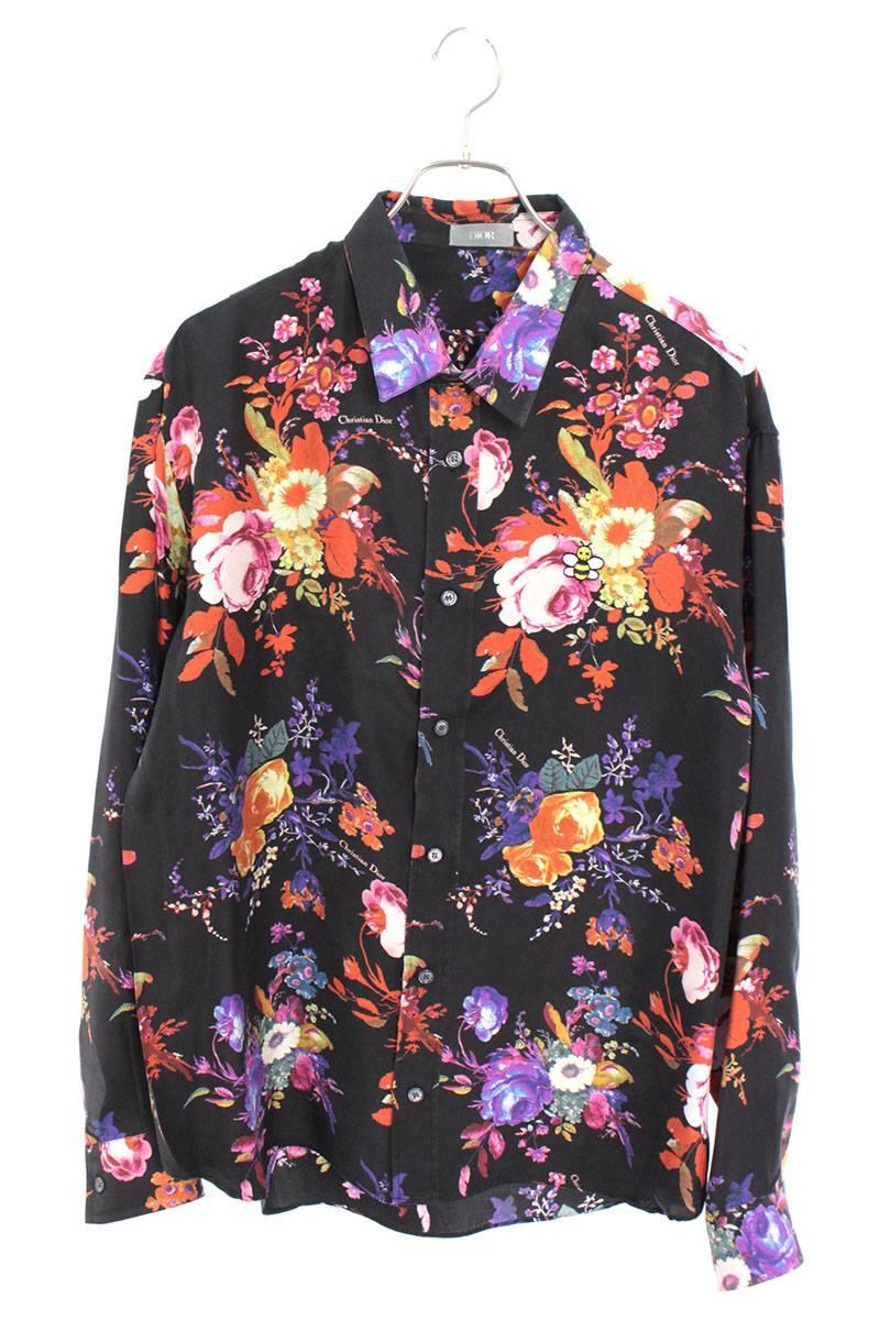 フラワー総柄シルク長袖シャツ