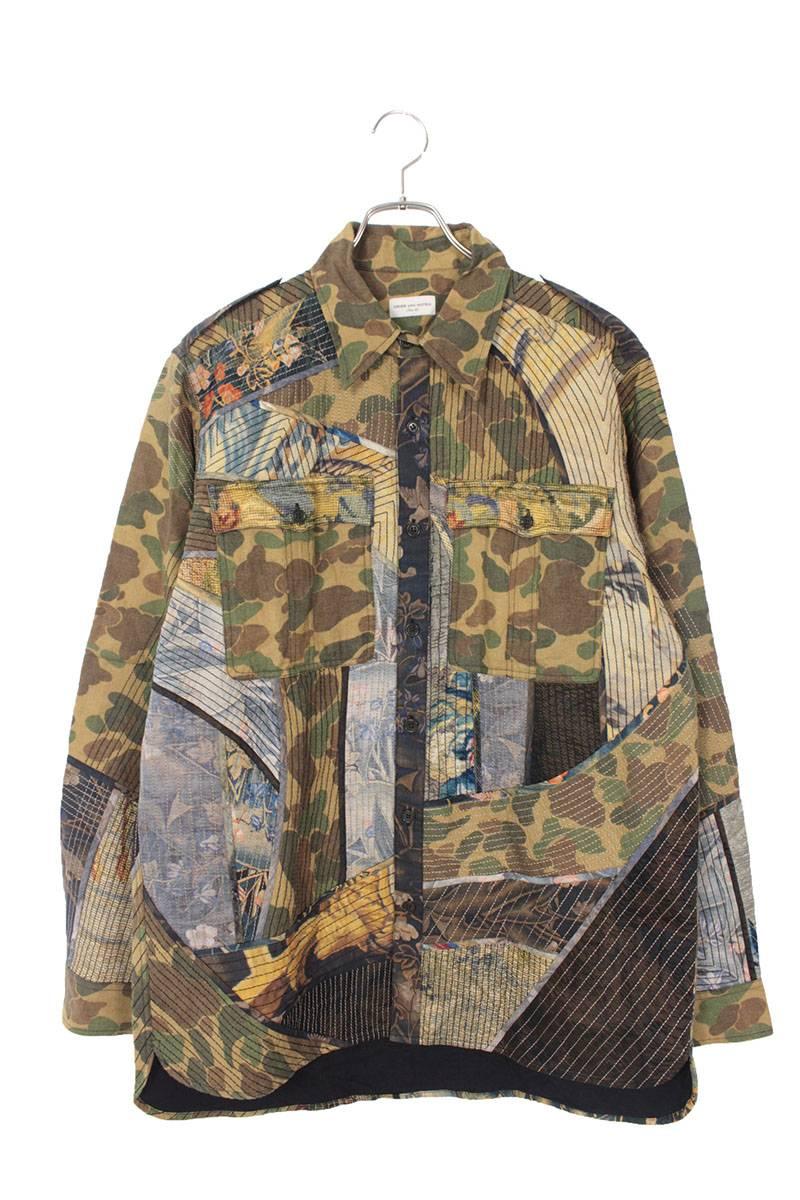 パッチワーク長袖シャツ