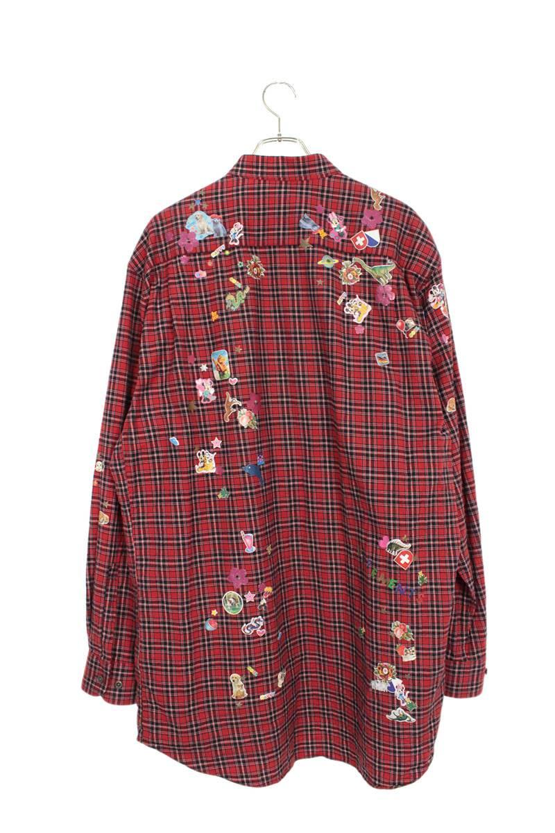 ステッカーデザインオーバーサイズチェック長袖シャツ