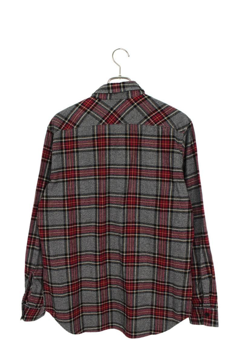 裾スリットチェック長袖シャツ
