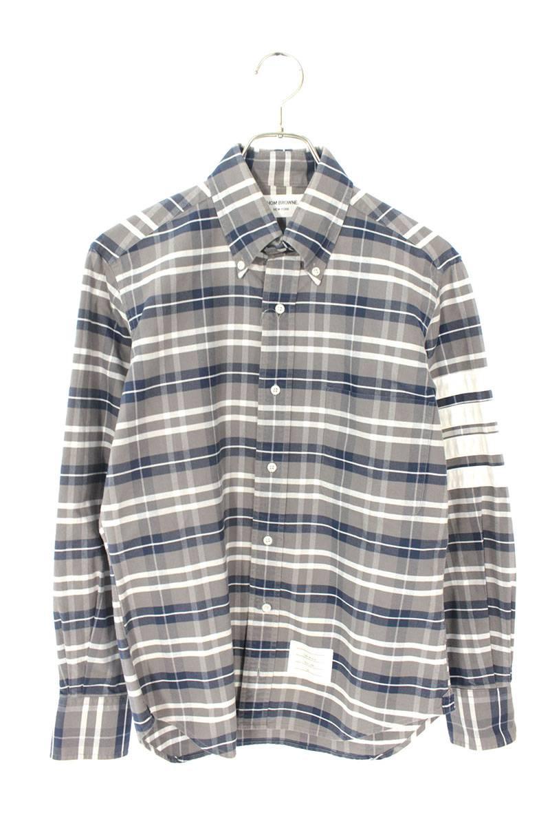 4ラインチェック柄BD長袖シャツ