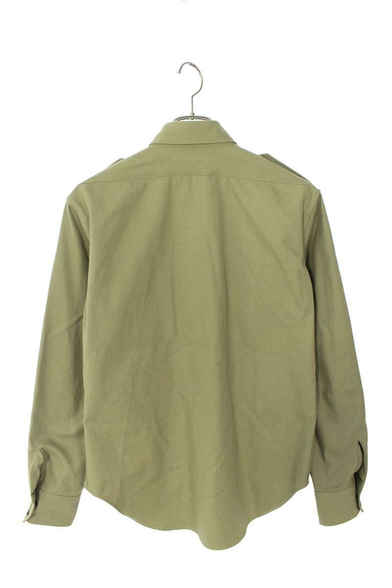 ワッペン装飾サファリ長袖シャツ