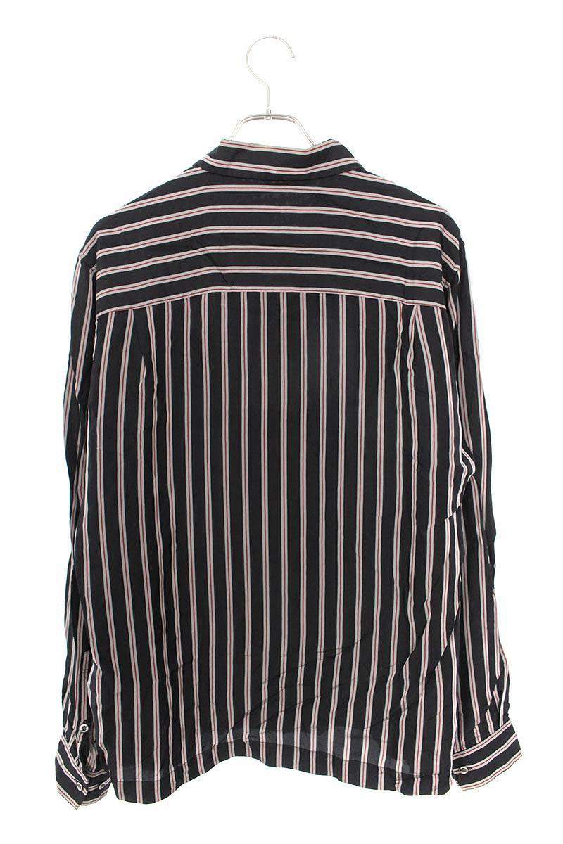ストライプオープンカラー長袖シャツ