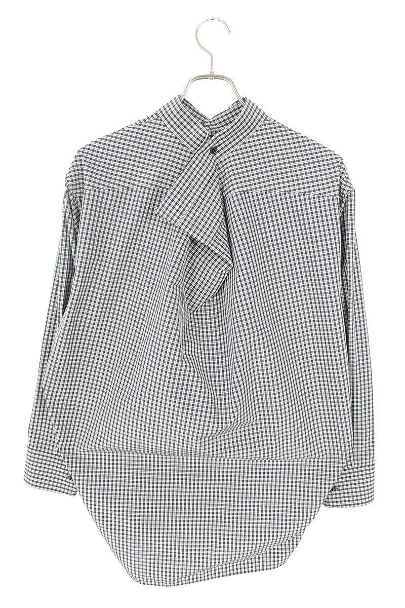 チェック柄スウィングカラー長袖シャツ