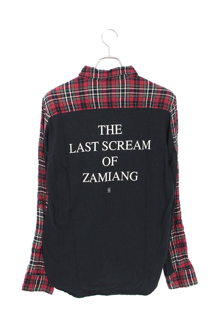 パターン切り替えチェック長袖シャツ