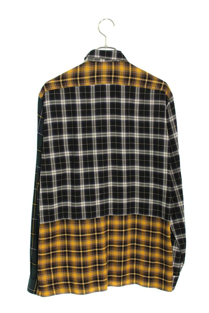 カラー切り替えチェック長袖シャツ