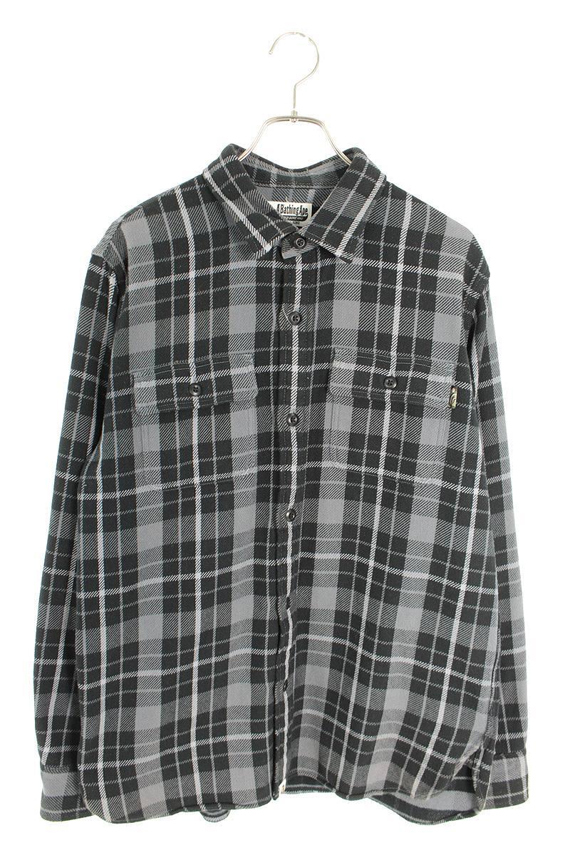 バックシャーク刺繍長袖シャツ
