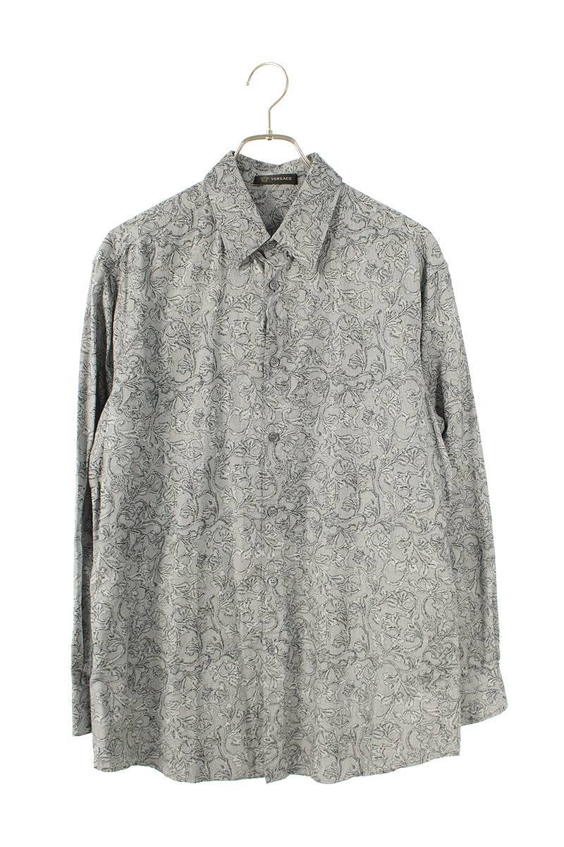 コットン総柄刺繍長袖シャツ