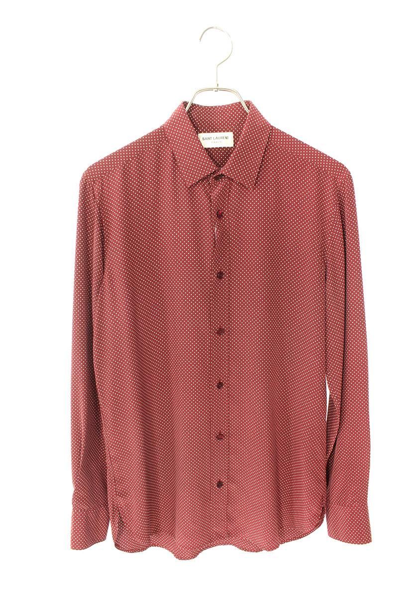 マイクロドット総柄シルク長袖シャツ