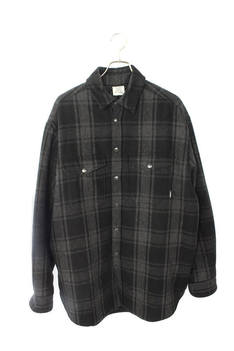 オーバーサイズ中綿キルティングチェック長袖シャツ