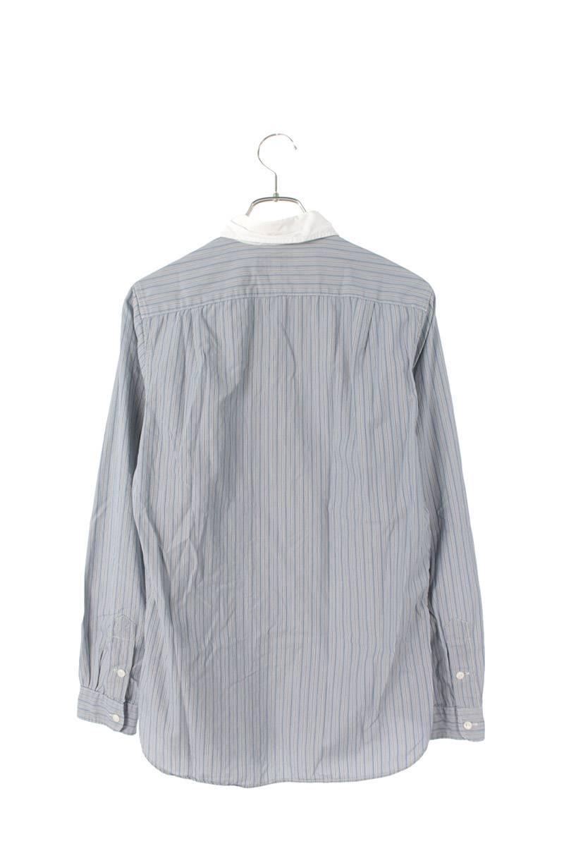 ストライプラウンドカラー長袖シャツ