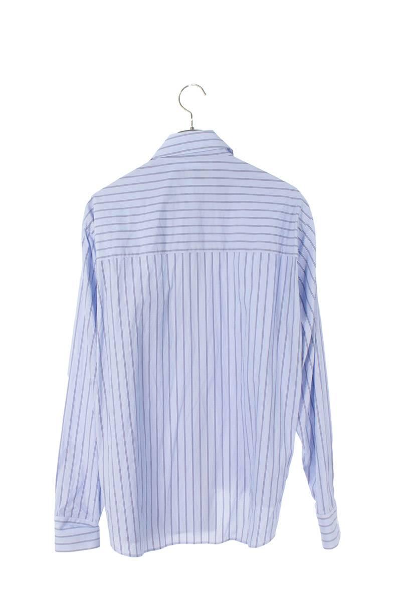 ロゴ刺繍ストライプ長袖シャツ