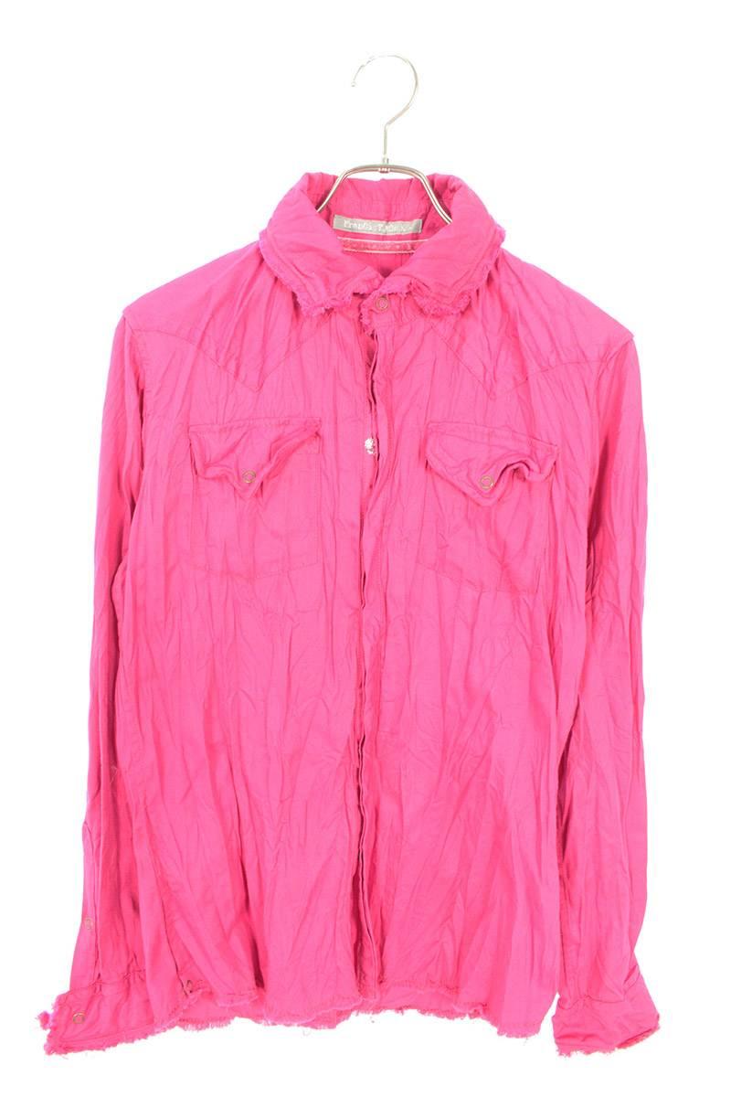 ハイビスカル装飾カットオフ長袖シャツ
