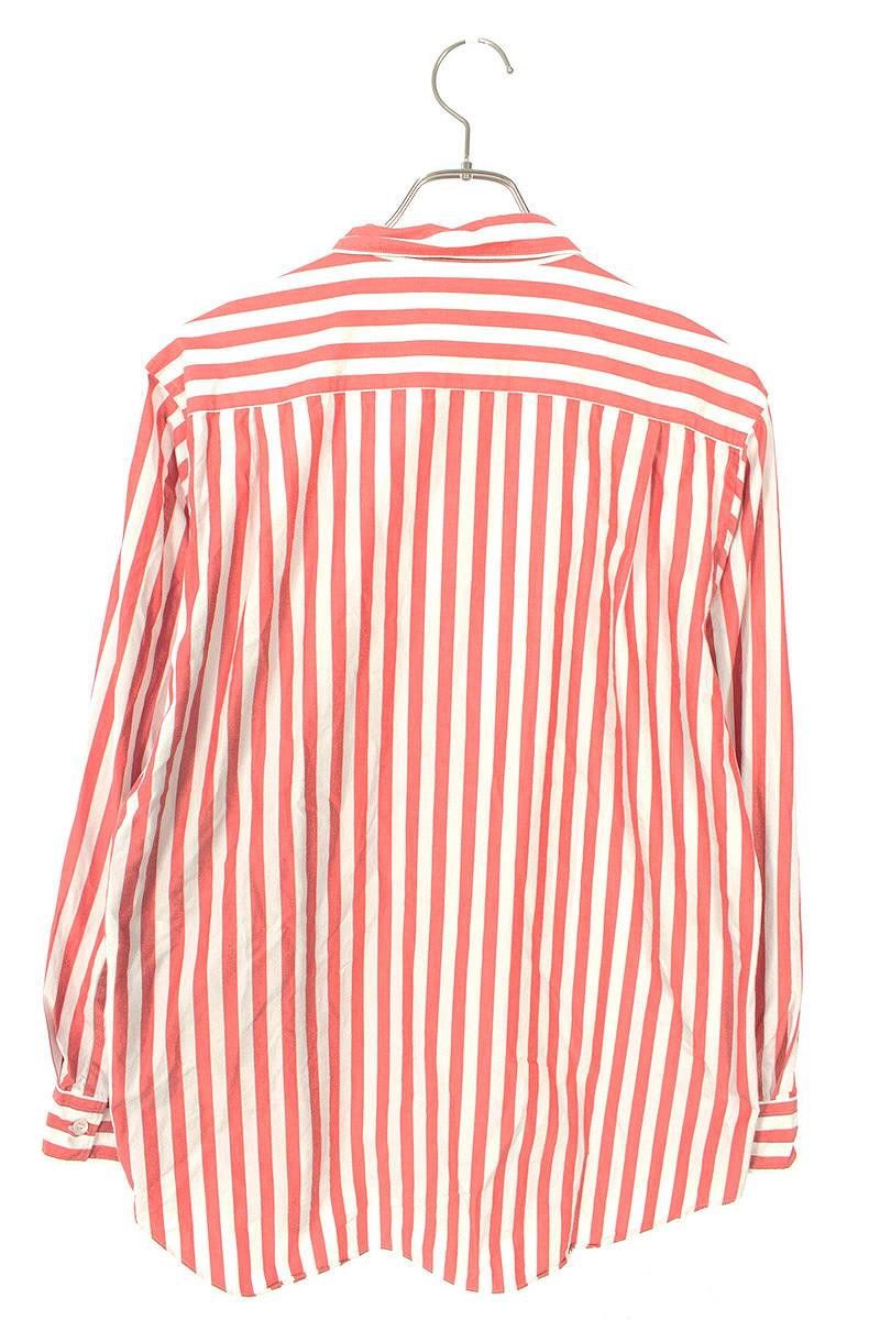 AD2004ロゴプリント胸ポケットストライプ長袖シャツ
