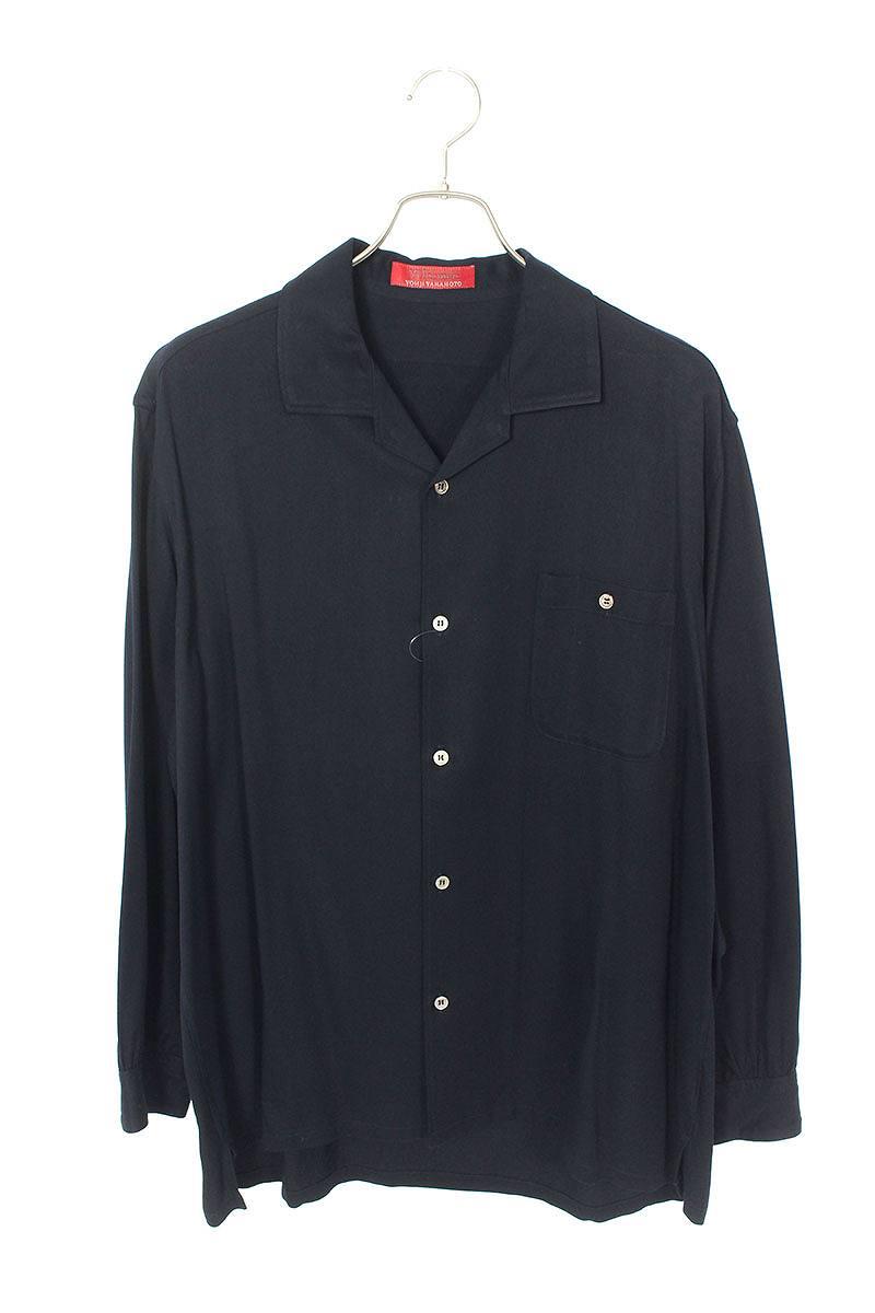 レーヨンオープンカラー長袖シャツ