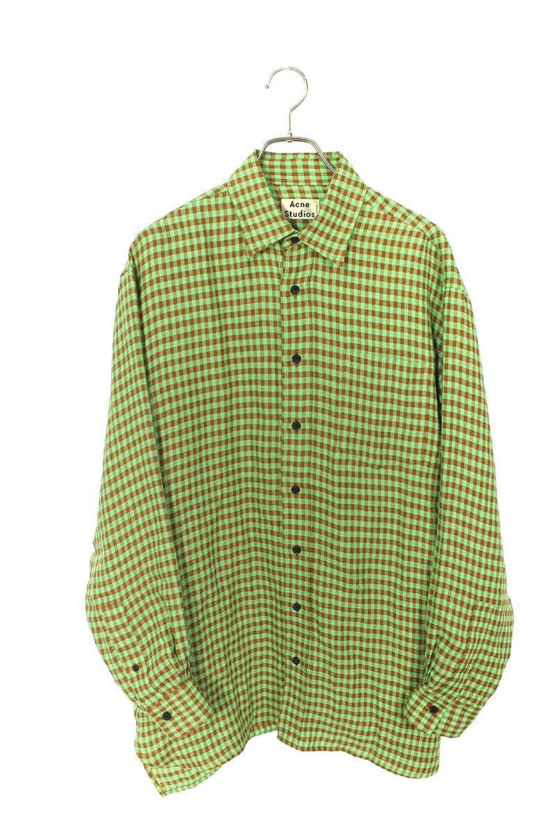 オーバーサイズチェックリネン長袖シャツ