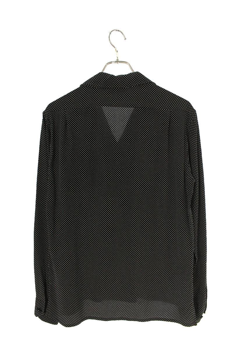 ドット総柄オープンカラーシルク長袖シャツ