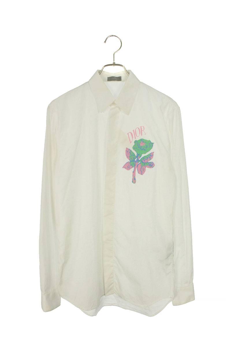 ローズパッチ装飾長袖シャツ