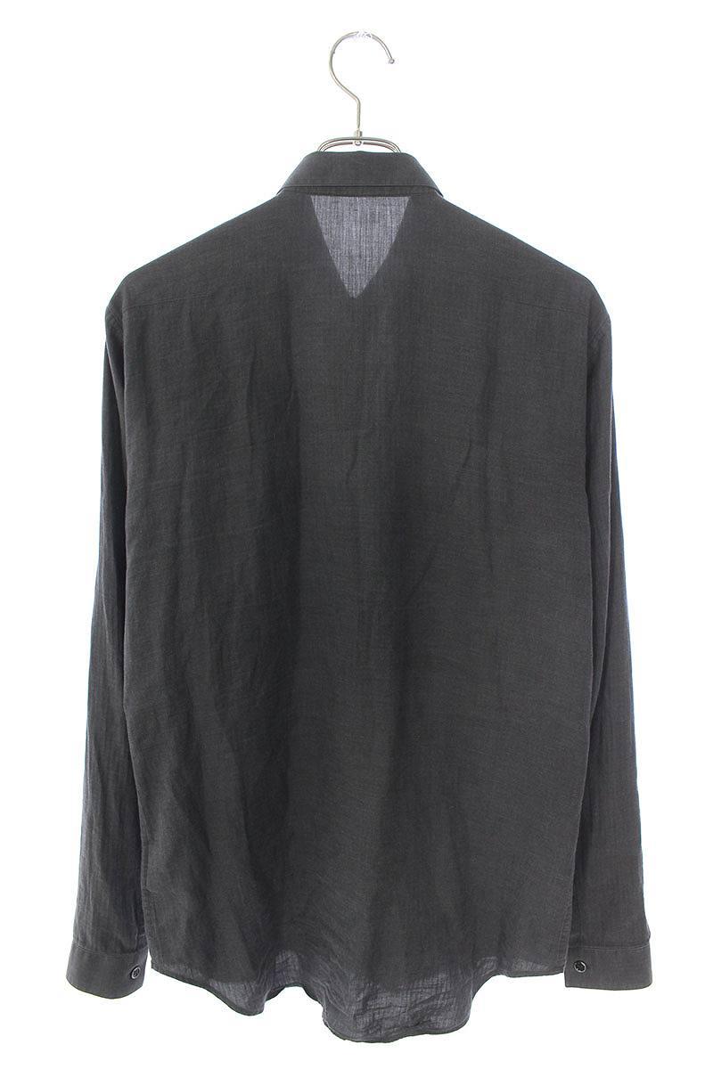 シルク混フロント切替長袖シャツ