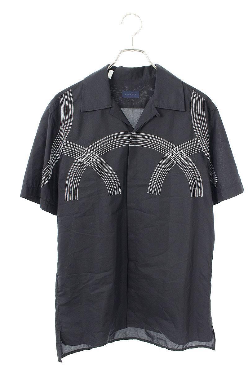 ステッチデザインシルク混比翼半袖シャツ