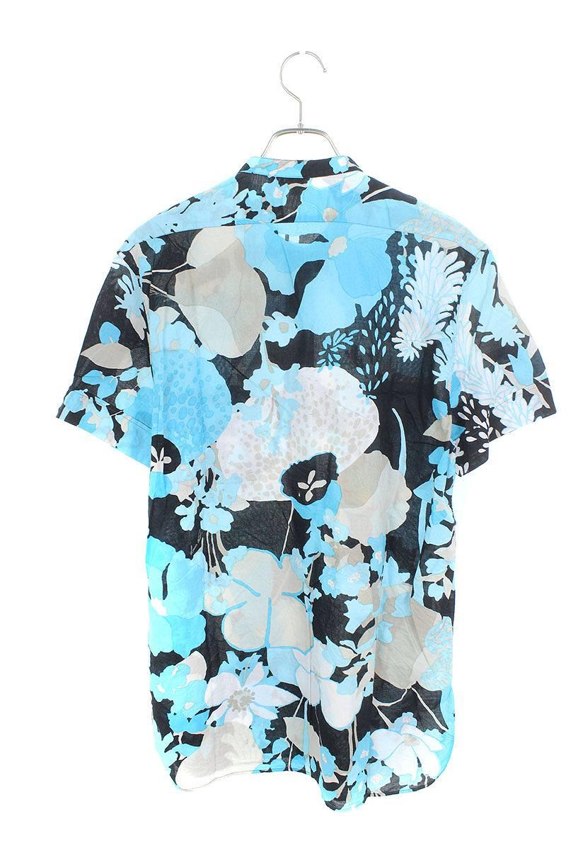 フラワー花柄ノーカラー半袖シャツ