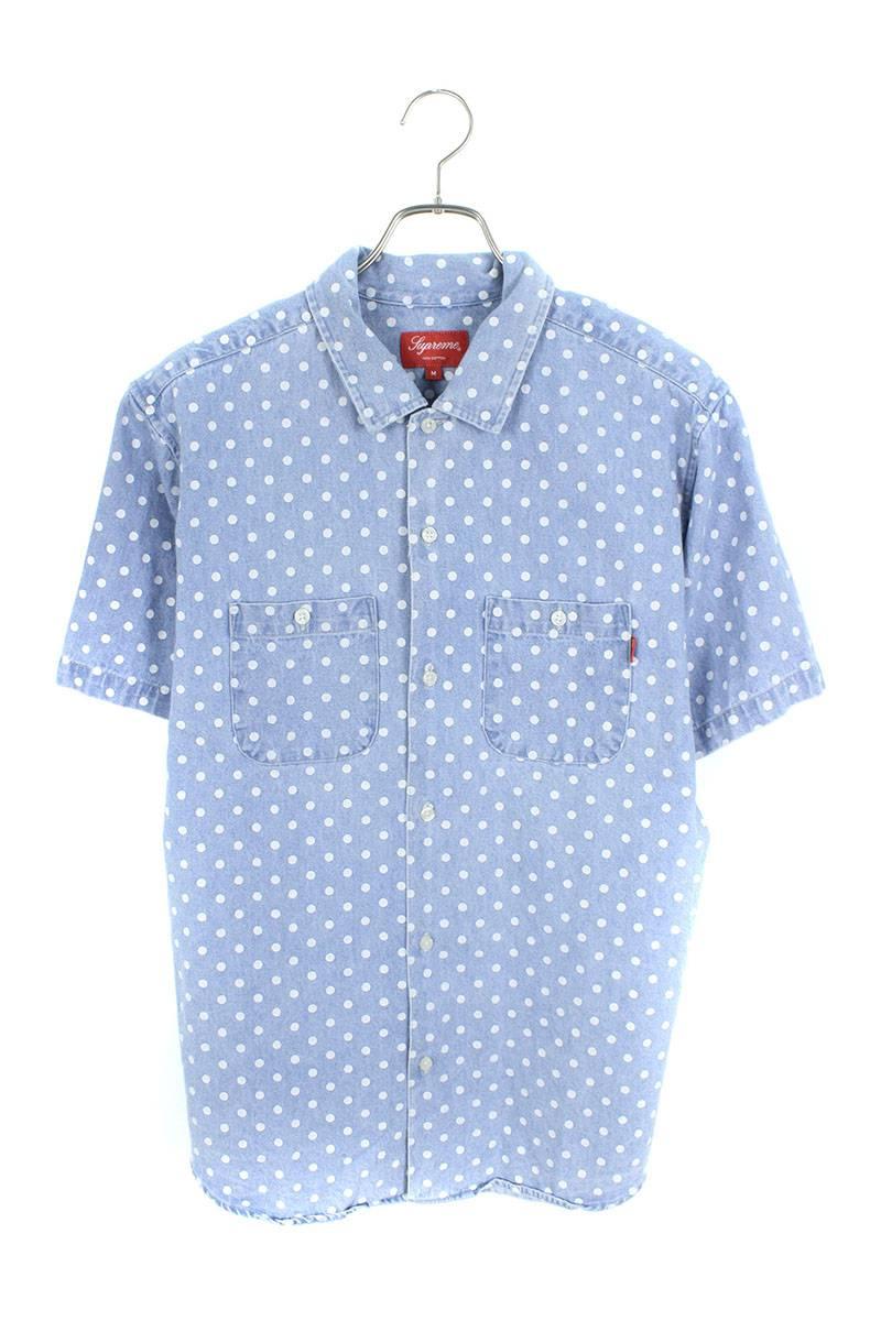 ポルカドットデニム半袖シャツ