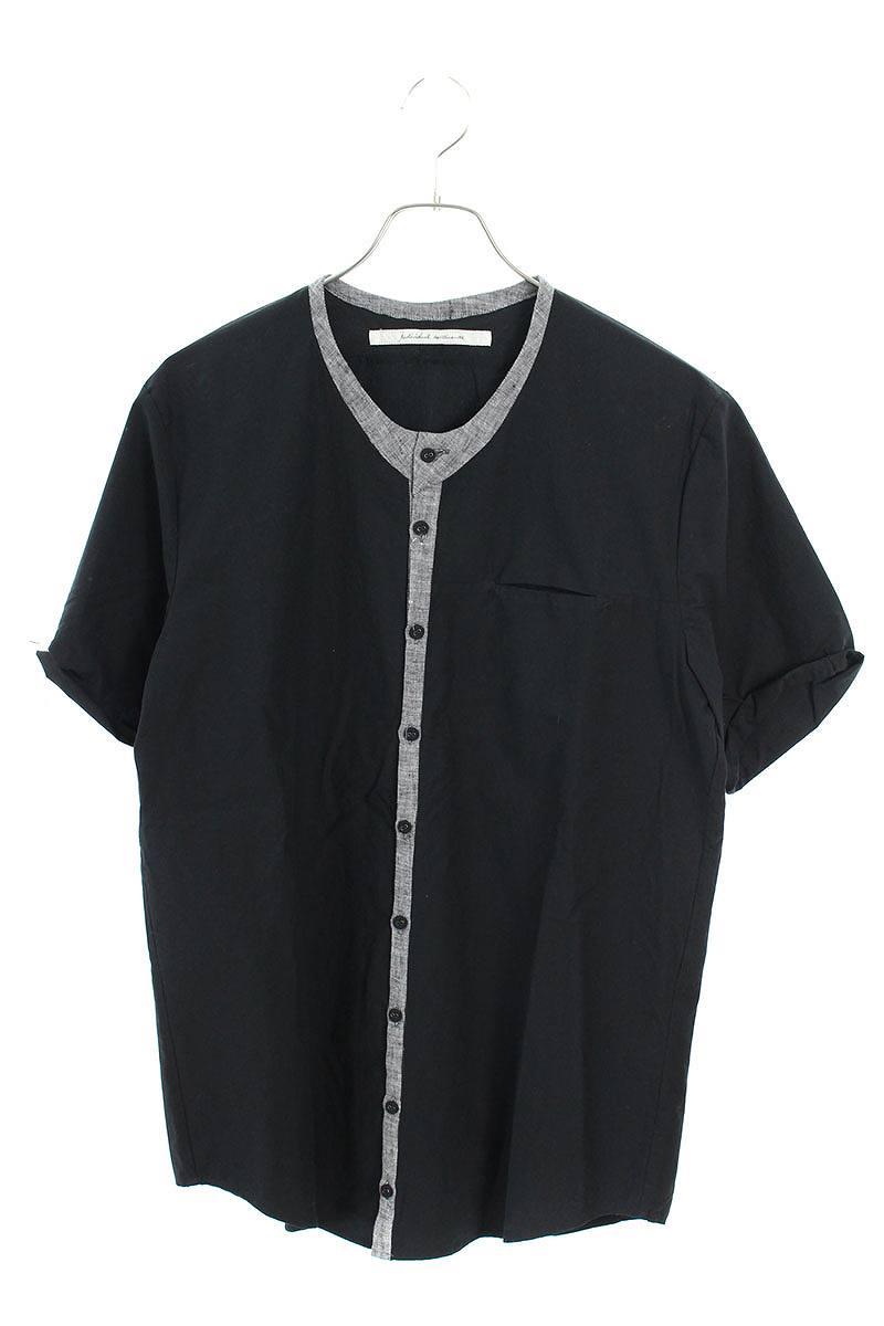リネン切り替えノーカラー半袖シャツ