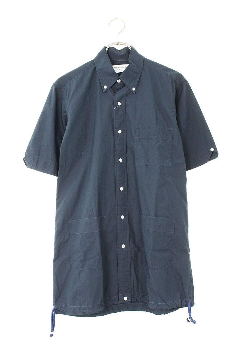 裾ドローコードロング半袖シャツ